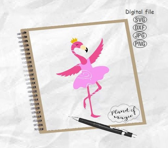 Flamingo Svg, Flamingo Ballerina Svg, Nursery Svg, Cute Flamingo Svg, Flamingo Crown SVG