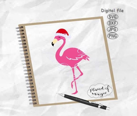 Christmas Flamingo Svg, Flamingo Svg, Flamingo Santa Hat Svg