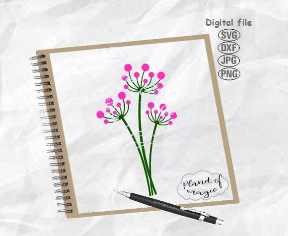 Flower Svg, Blowball Svg, Floral Svg, Plant Svg