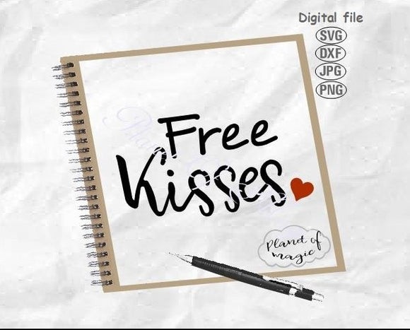 Free Kisses Svg, Dog Bandana Svg, Funny Dog Qoute Svg, Dog Svg, Valentine Day Svg