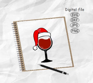 Wine Glass Svg, Christmas Svg, Christmas Hat Svg, Santa Hat Svg