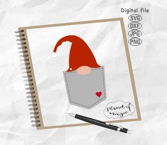 Gnome Svg, Gnome Pocket Svg, Gnome Cut File, Peeking Gnome Svg, Pocket Design Svg, Peekaboo Gnome Svg
