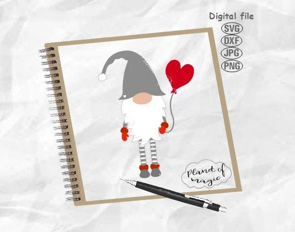 Gnome Svg, Valentine Gnome Svg, Valentine Day Svg, Gnome With Balloon Svg