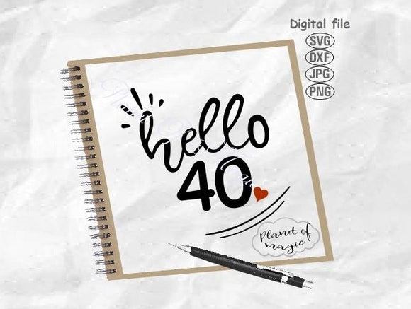 Hello 40 Svg, 40th Birthday Svg, Forty Svg, Hello Forty Svg