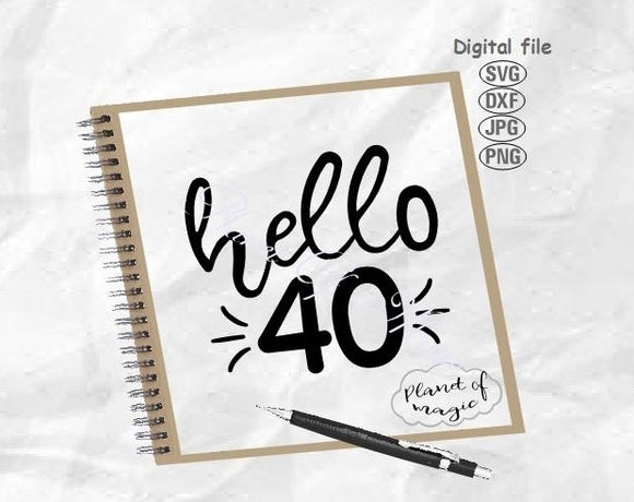 40th Birthday Svg, Hello 40 Svg, Forty Svg, Hello Forty Svg