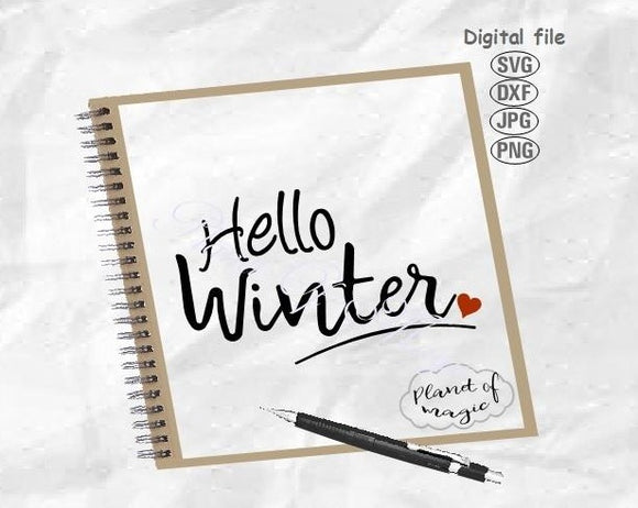 Hello Winter Svg, Christmas Svg, Winter Svg, Winter Sign Svg, Winter Cut File
