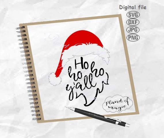 Ho Ho Ho Y'all Svg, Christmas Svg, Santa Hat Svg, Santa Beard Svg