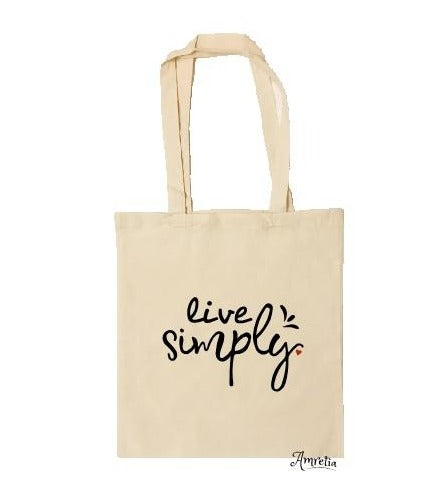 Tote Bag, Live Simply Bag, Cotton Tote Bag, Funny Tote Bag, Shopping Tote Bag, Natural Tote Bag, Market Bag