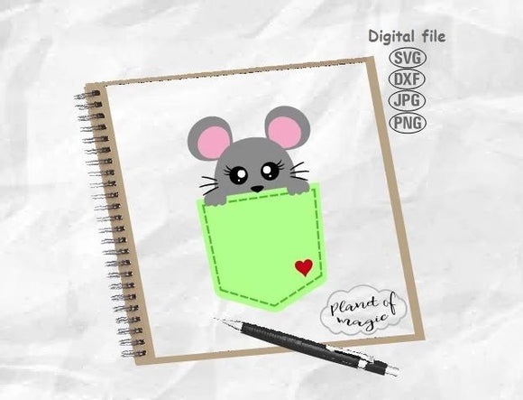 Pocket Svg, Mouse Svg, Mouse Pocket Svg, Mouse Cricut, Peeking Mouse Svg, Rat Svg