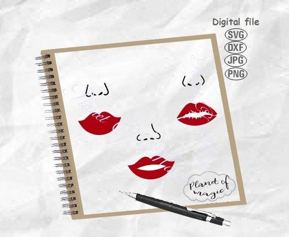 Face Mask Design Svg, Lips Svg, Face Svg, Mouth Svg, Woman Face Svg, Nose Svg