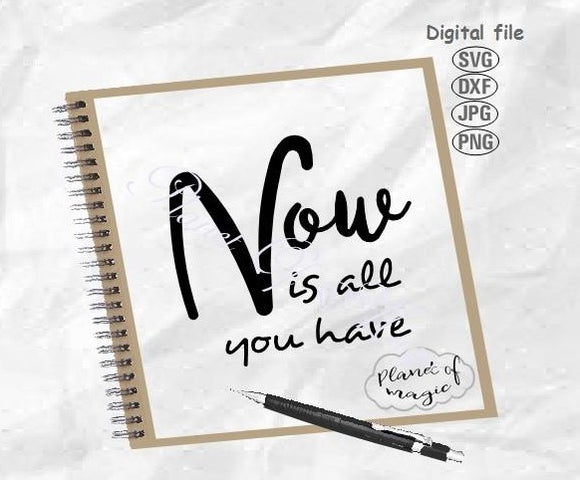 Now Is All You Have Svg, Inspirational Svg, Motivational Quote Svg, Time Svg, Inspire Quote Svg, Home Quote Svg