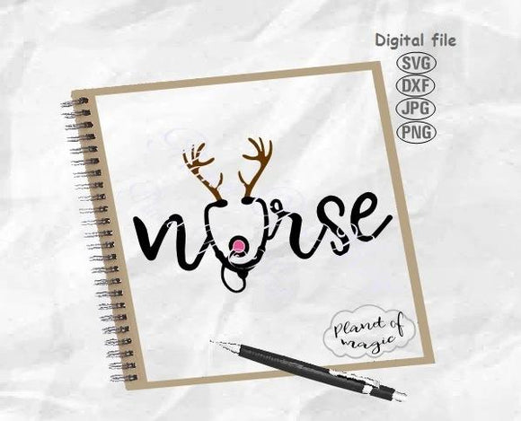 Nurse Svg, Christmas Nurse Svg, Nurse Reindeer Svg, Nurse Antler Svg