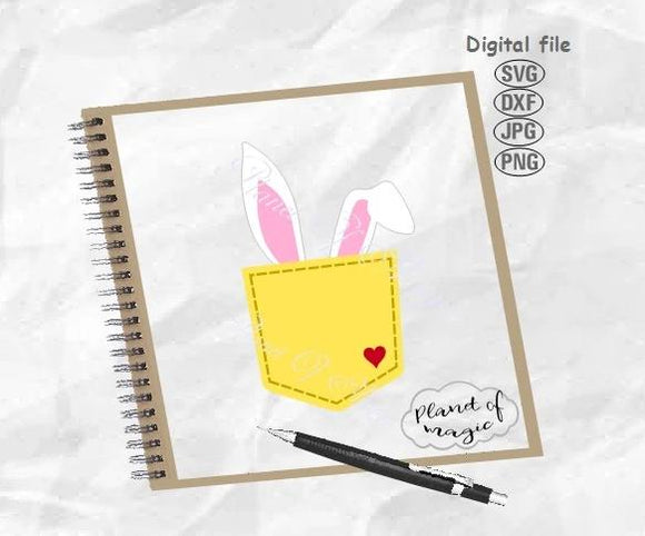 Pocket Svg, Bunny Ears Svg, Bunny Pocket Svg, Rabbit Cricut, Peeking Bunny Svg