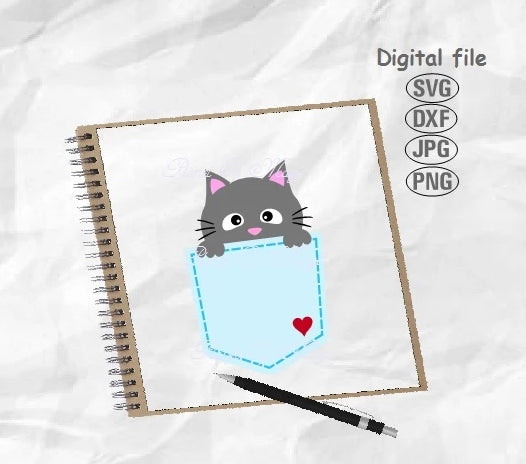 Pocket Svg, Cat Svg, Cat Pocket Svg, Cat Cricut, Peeking Cat Svg