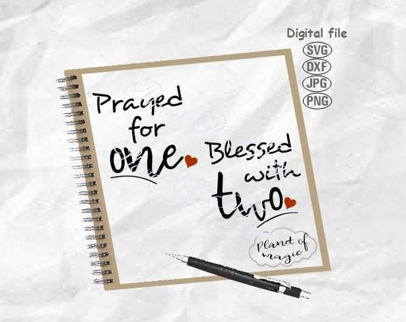 Prayed For One Blessed With Two Svg, Twins Maternity Svg, Twin Svg, Maternity Svg