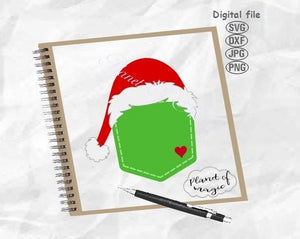 Santa Pocket Svg, Santa Hat Pocket Svg, Santa Hat Cut File, Peeking Santa Svg