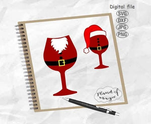 Santa Wine Glass Svg, Christmas Svg, Christmas Hat Svg, Santa Hat Svg