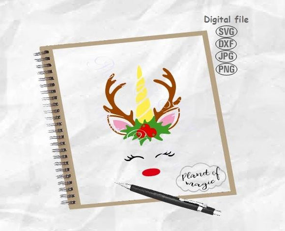 Reindeer Unicorn Svg, Unicorn Deer Svg, Unicorn Svg, Unicorn Christmas Svg