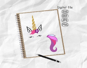 Unicorn Svg, Unicorn and Tail Svg, Unicorn Tail Svg, Unicorn Face Svg