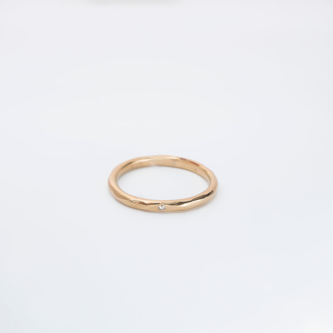 Gold ring with 0,01ct fairtrade diamond, 14karat