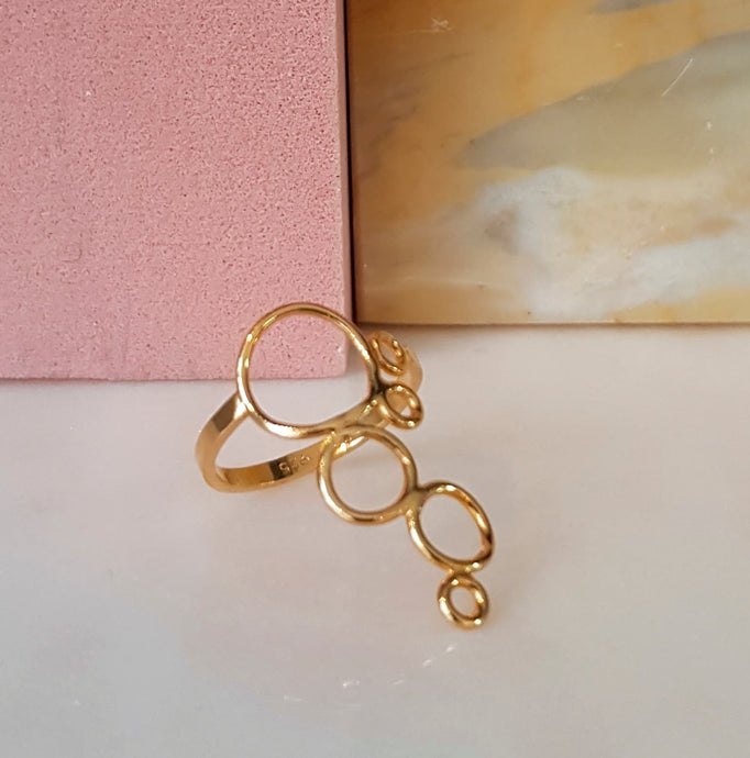 BUBBLE ring, goldplated