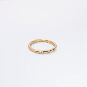 Gold ring with 0,03ct fairtrade diamonds, 14 karat