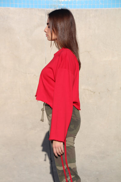 "Red ""Cut Off"" Crop"