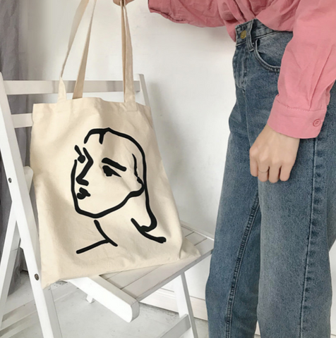 Painted Face Tote Bag