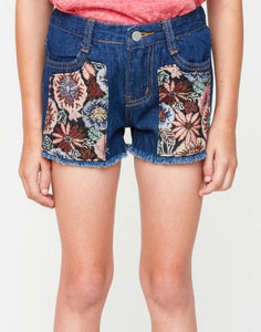 Groovy Floral Denim Shorts