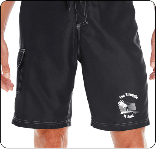 The Struggle is Real Clothing Black Board Shorts with The Struggle is Real silk screened Logo