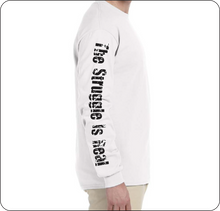 Load image into Gallery viewer, The Struggle is Real Clothing Beach Scene UPF (SPF 50) Long Sleeve White Shirt with The Struggle is Real Logo
