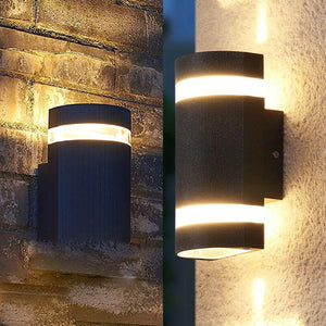 Black Or Grey Curved Up Down Outdoor Wall Light