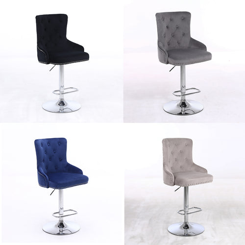 CGC Exclusive Collection - Brushed Velvet & Chrome Stand Luxury Chaise Adjustable Bar Stool - Choice of Colours