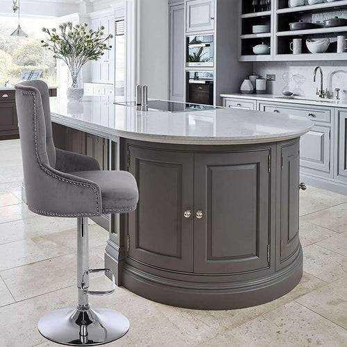 CGC Exclusive Collection - Grey Brushed Velvet & Chrome Stand Luxury Adjustable Bar Stool