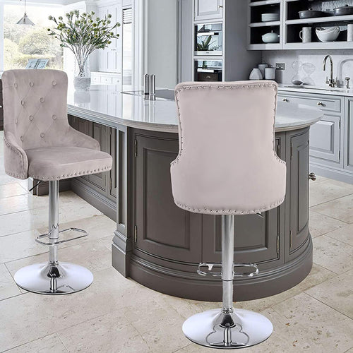 CGC Exclusive Collection - Mink Brushed Velvet & Chrome Stand Luxury Adjustable Bar Stool