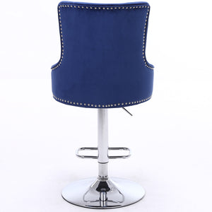 CGC Exclusive Collection - Blue Brushed Velvet & Chrome Stand Luxury Adjustable Bar Stool