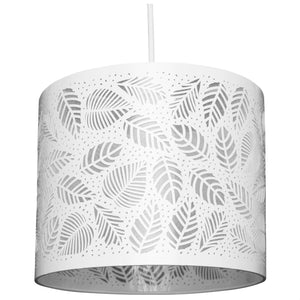 White Metal Drum Shaped Shade With Leaf Detailing
