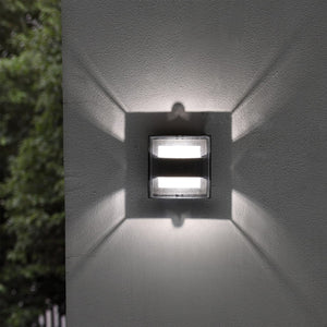 Dark Grey Curved Diffuser Outdoor LED Wall Light