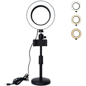 "6"" Inch Extendable LED Ring Light With Phone Holder And Remote"