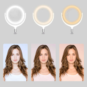 "10"" Inch LED Ring Light With Round Non-Slip Base And Phone Holder"