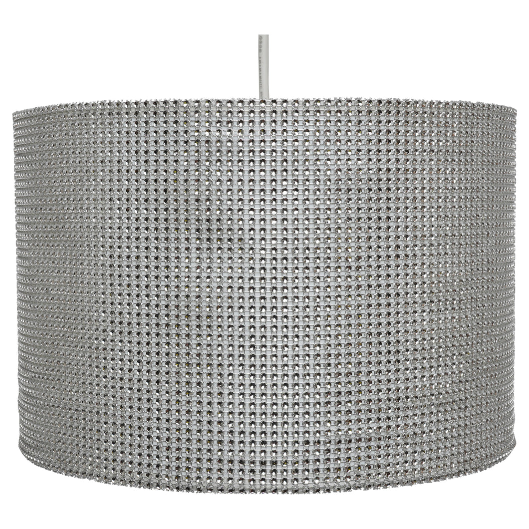 Sparkling Silver Glitzy Fabric Diamante Ceiling / Table Lamp Shade