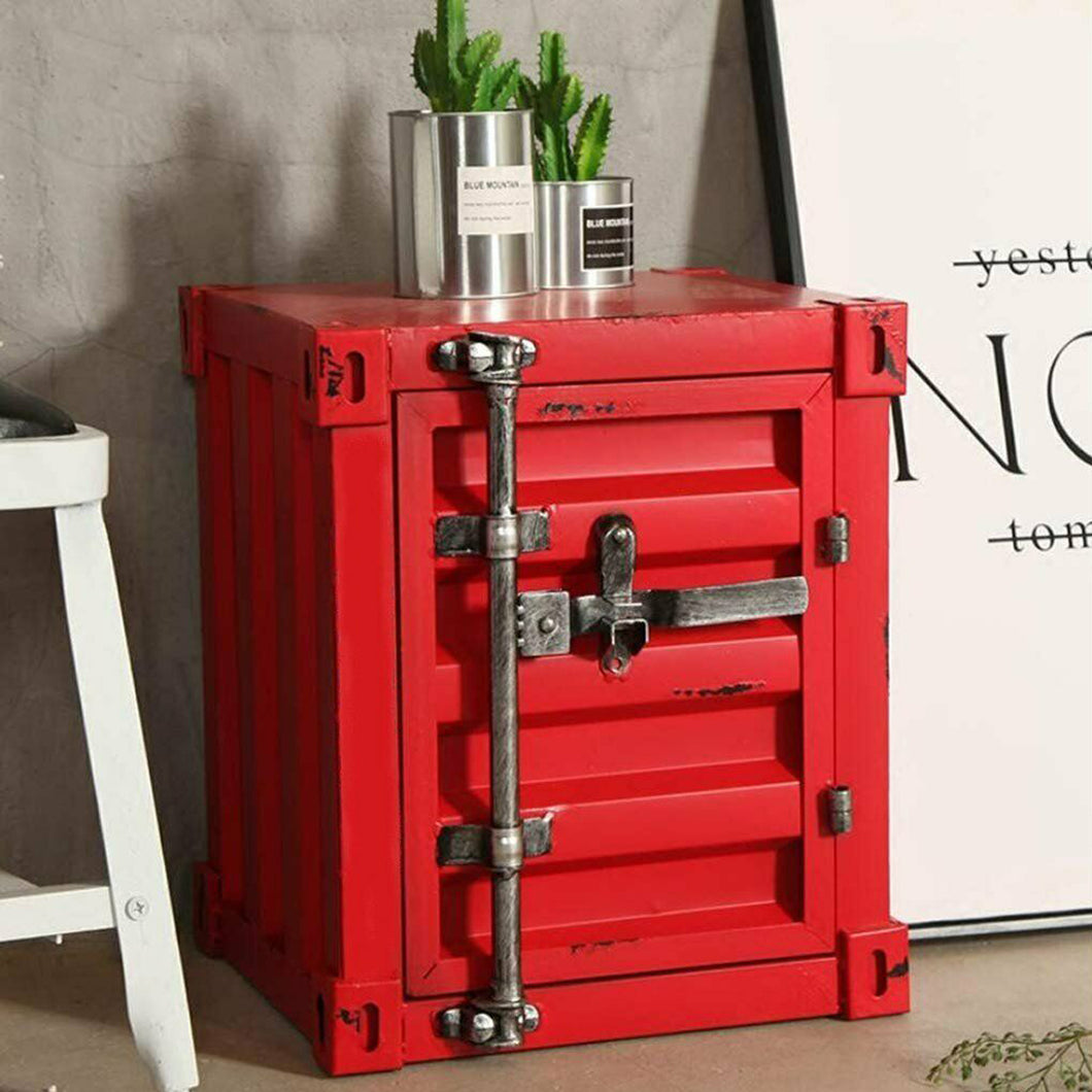 Retro Industrial Style Mini Shipping Container Table With Lockable Handle