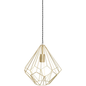 Polished Brass Geometric Metal Pendant Light Ceiling Lamp with Black Rope Cord