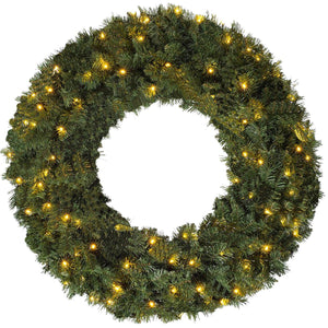 Luxury Large Green Pre Lit LED Christmas Wreath