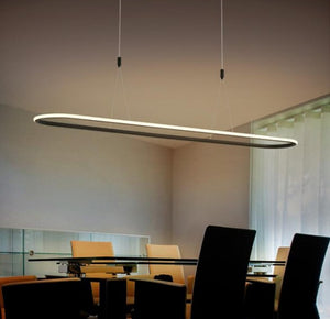 Large Oval Contemporary Black LED Pendant Light
