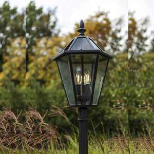 Traditional Victorian Style Tall LED Solar Garden Post Lantern Light