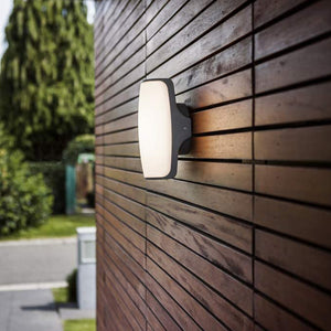 Dark Grey LED Curved Rectangle Outdoor Wall Light