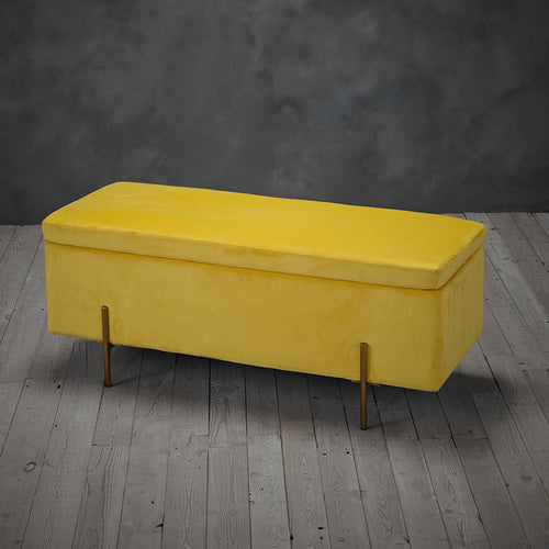 Mustard Yellow Luxury Velvet Storage Ottoman
