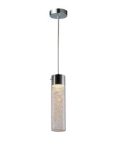 Chrome & Glass Single Pendant Ceiling Light With Gold Leaf Effect