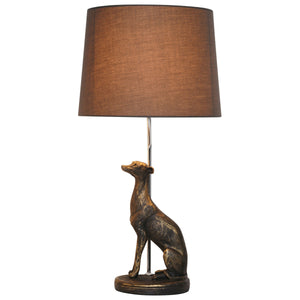 Antique Bronze Style Greyhound Table Lamp Complete With Grey Shade